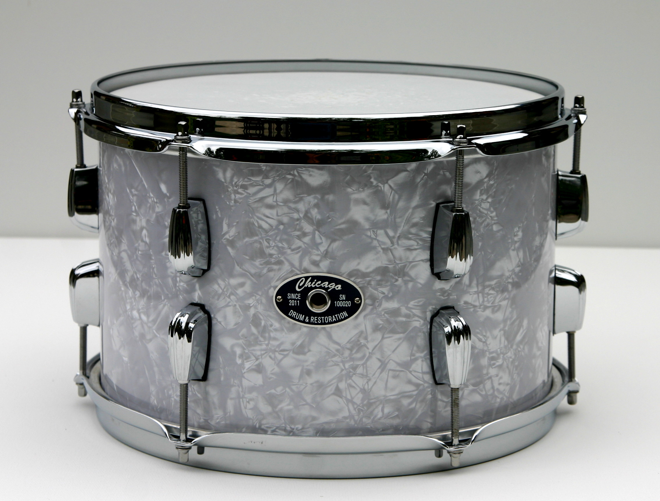 """8"""" x 12"""" Blue White Pearl Snare Drum"""