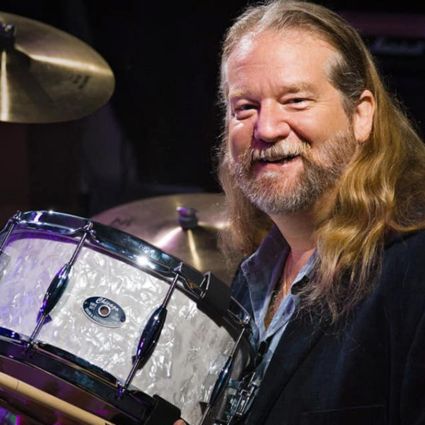 Keith Jones with his Pearl Snare Drum