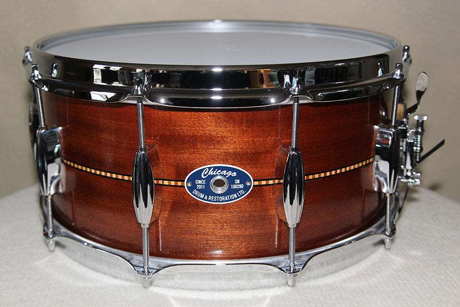Mahogany Snare Drum with Inlay