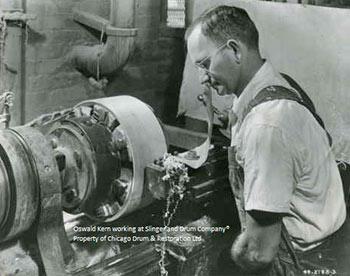 Oswald Kern Working at Slingerland