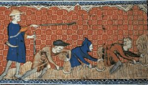 My DNA profile indicates that my most direct relative from the Middle Ages was probably this guy in the hoodie, second from the right, plowing a field. He could neither read nor write. Thus began a succession of low achievers.