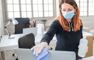You will be asked to do your small part to keep COVID away by wiping down your desk, computer, phone, chair and office supplies with an antiseptic cleanser every 45 minutes. Remember to bring a new box of disinfecting wipes to work each day. No, you can't expense it.