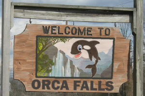 Welcome to Orca Falls (formerly Stanwood), the happiest town in America. Come for our incredible natural beauty. And if you're lucky, you just might catch a rare sighting of one of our orcas swimming up our waterfalls, as they do during mating season.
