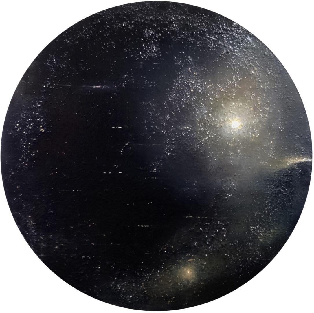 "Ocular III, Oil, Powdered pigment, paper, 3/4"" birch ply, 36"" diameter"