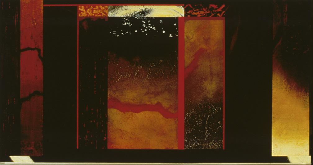 "Segmented XII, Oil, powdered pigment, paper, 3/4"" birch ply, 10""x16"", 1999"