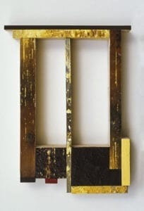 "Spangle XIV, Oil, powdered pigment, paper, 3/4"" birch ply, 14""x11"", 2004"