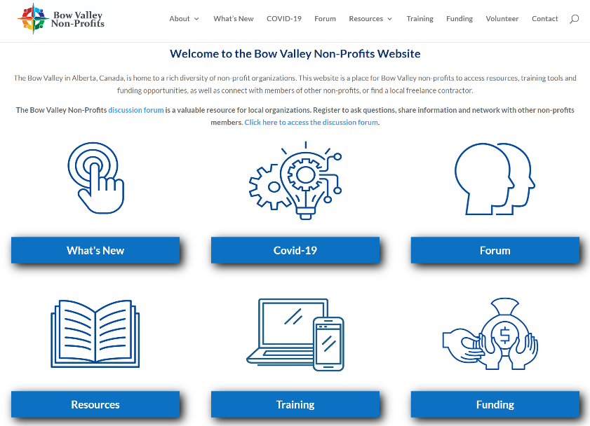 Bow Valley Non-Profits Website by Bow Valley Marketing, Canmore, Alberta