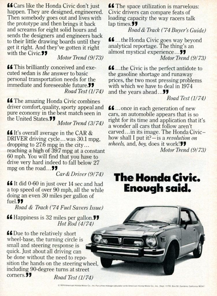 The Honda Civic.  Enough Said.