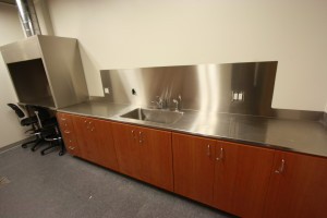lab with stainless countertops