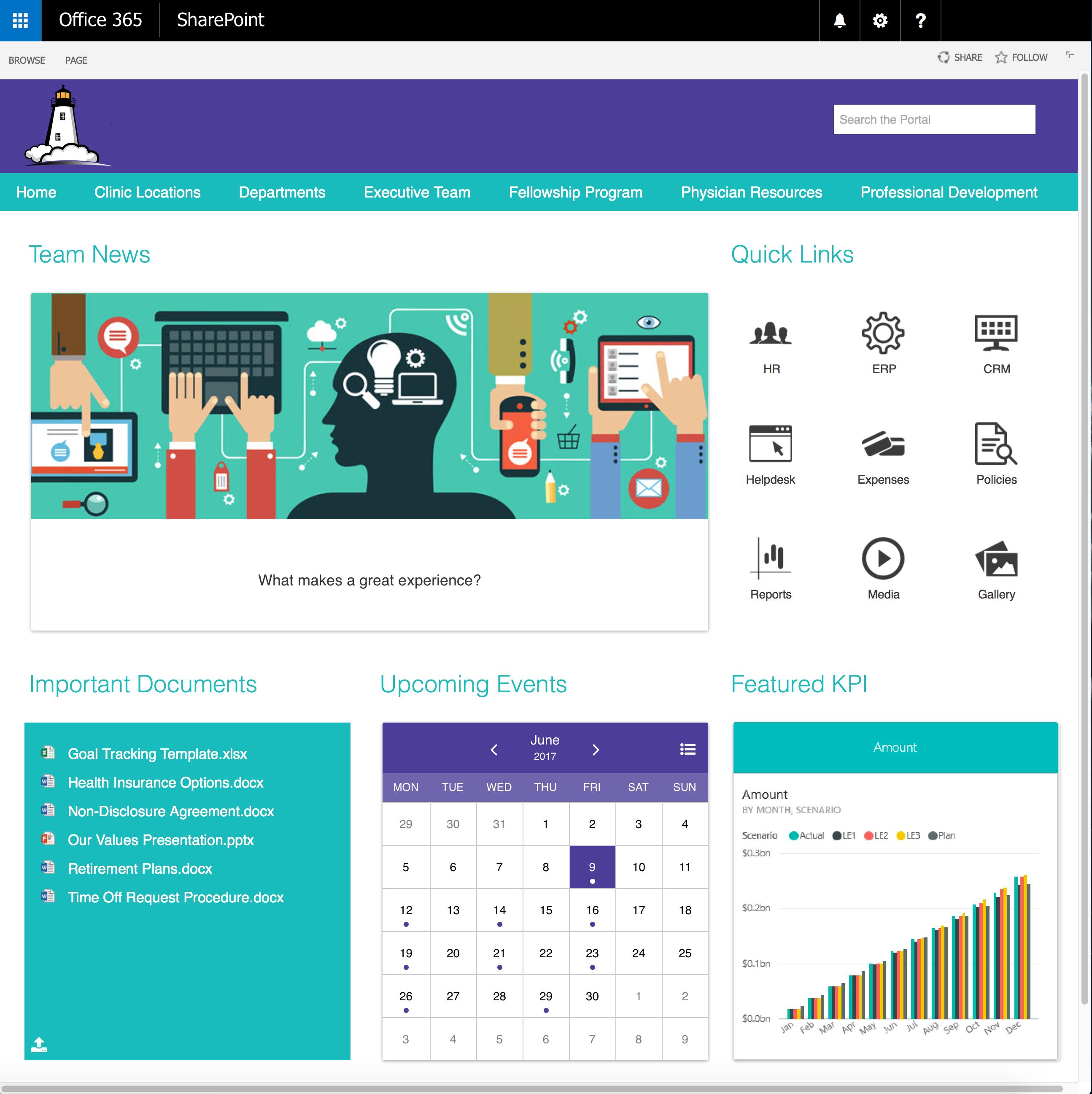 Healthcare SharePoint Intranet Portal Mockup