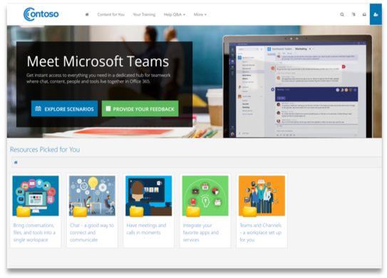 Screenshot of training portal
