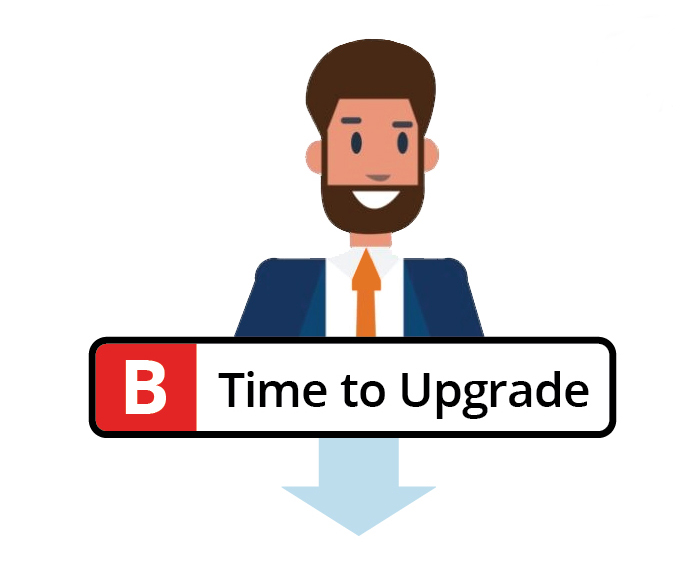Businessman computer upgrade