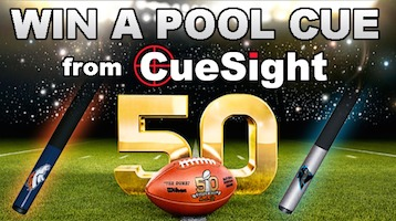 Win a Broncos or Panthers Pool Cue!