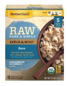Raw pure and simple oatmeal
