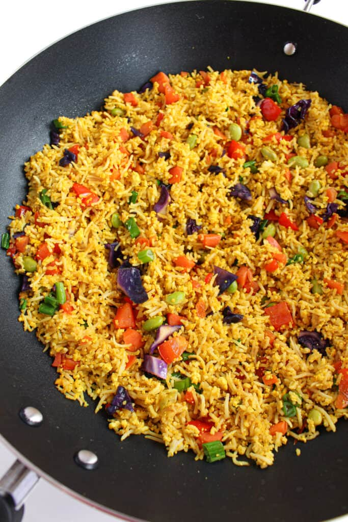 vegan low FODMAP fried rice in a large Wok