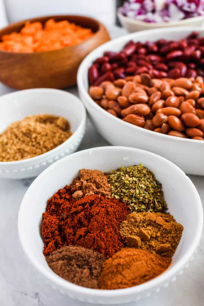 Up close view of the spices used in this chili recipes