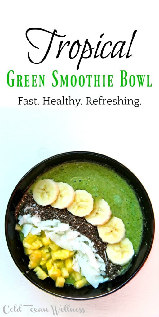 Tropical Green Smoothie bowl. The perfect healthy breakfast for kids and adults alike. This recipe is vegan, gluten free, paleo, and 21 day fix approved!