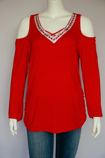 Red Blinged Blouse