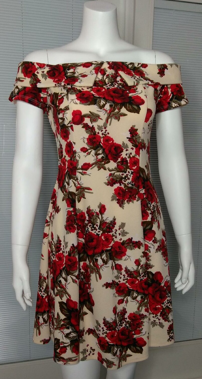 Cream with Red Floral Dress