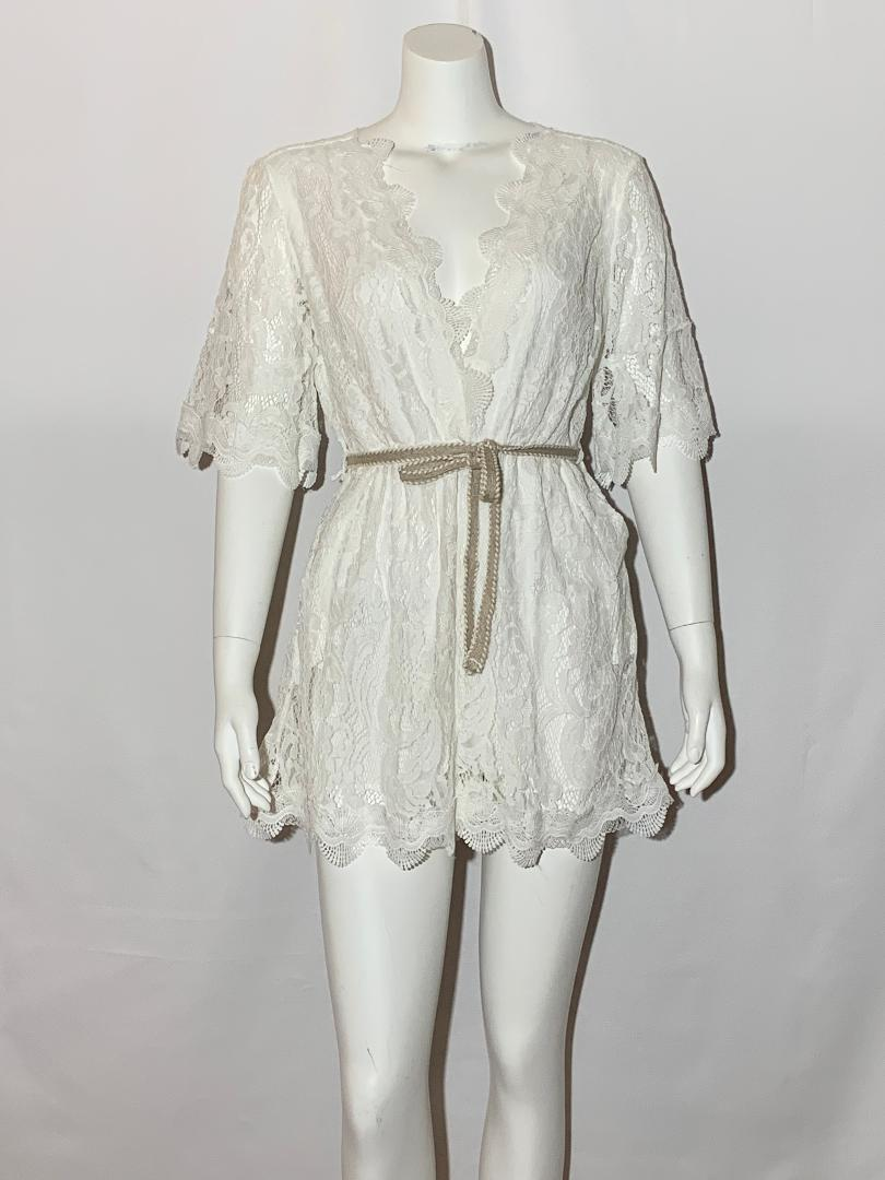 White Beauty Lace Romper