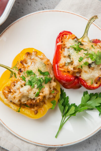 What's For Dinner: Stuffed Peppers with Avocado Cream Sauce