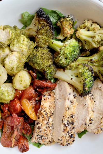 What's For Dinner: Chicken with Cauliflower Gnocchi with Pesto, Tomatoes, and Broccoli
