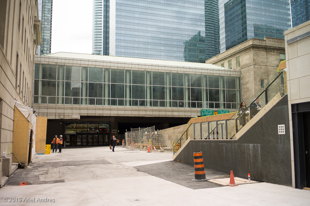 A new pedestrian pathway to the concourse. It use to be the entrance and parking lot to the car rental agencies.
