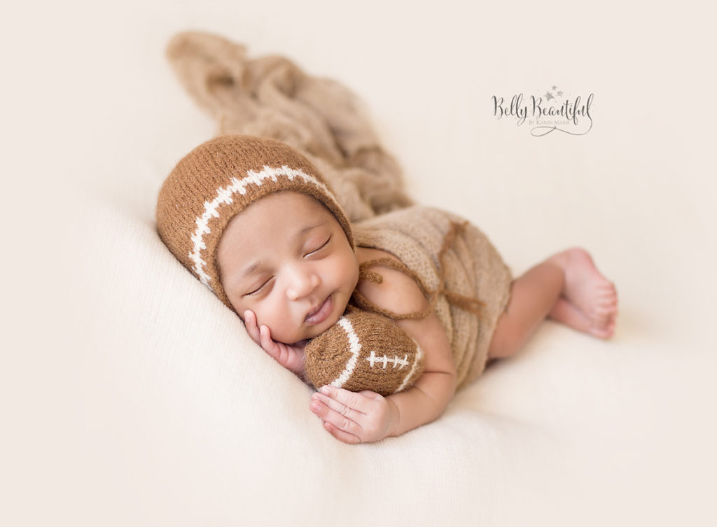 Knit Baby bonnet and football
