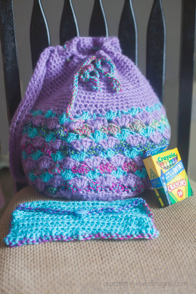 Crochet backpack and pencil case