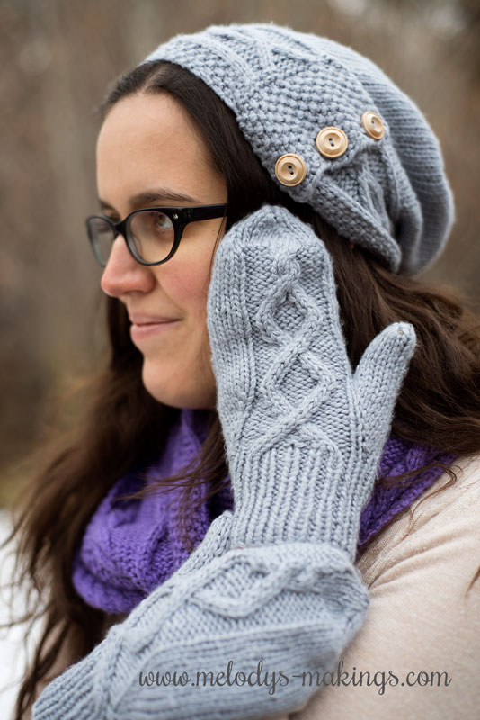 Knit Cabled Mittens