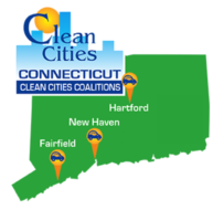 Connecticut Clean Cities Coalitions logo - CT state outline with points at the three coalition locations: Fairfield, New Haven, and Hartford.