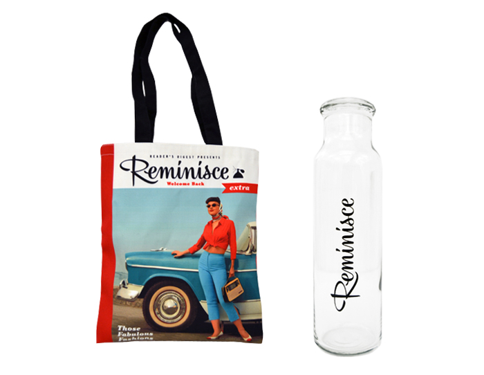 Reader's Digest Reminisce Water Bottle and Tote Set