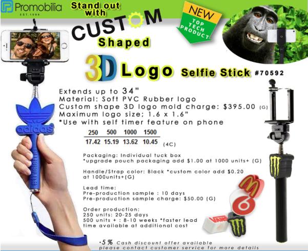 Custom Shaped Selfie Sticks