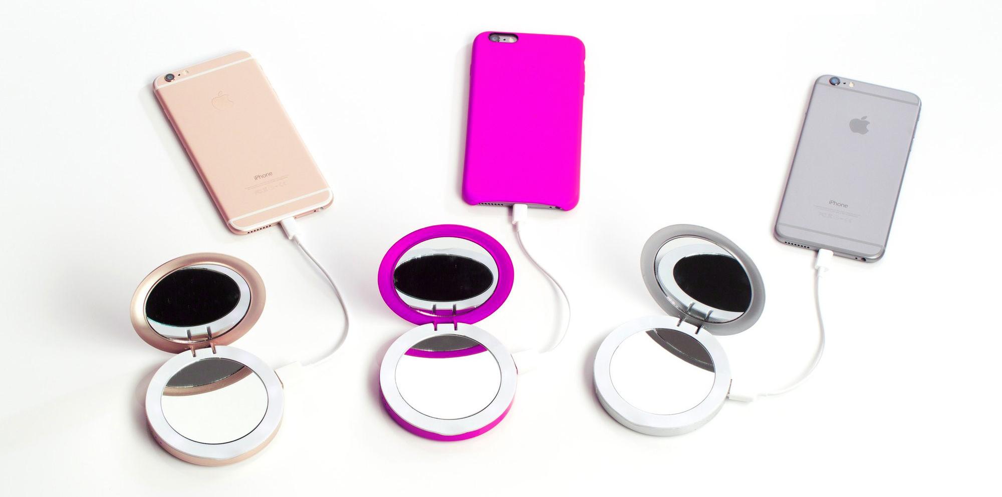 Metallic Power Banks with Built-In Compact Mirrors