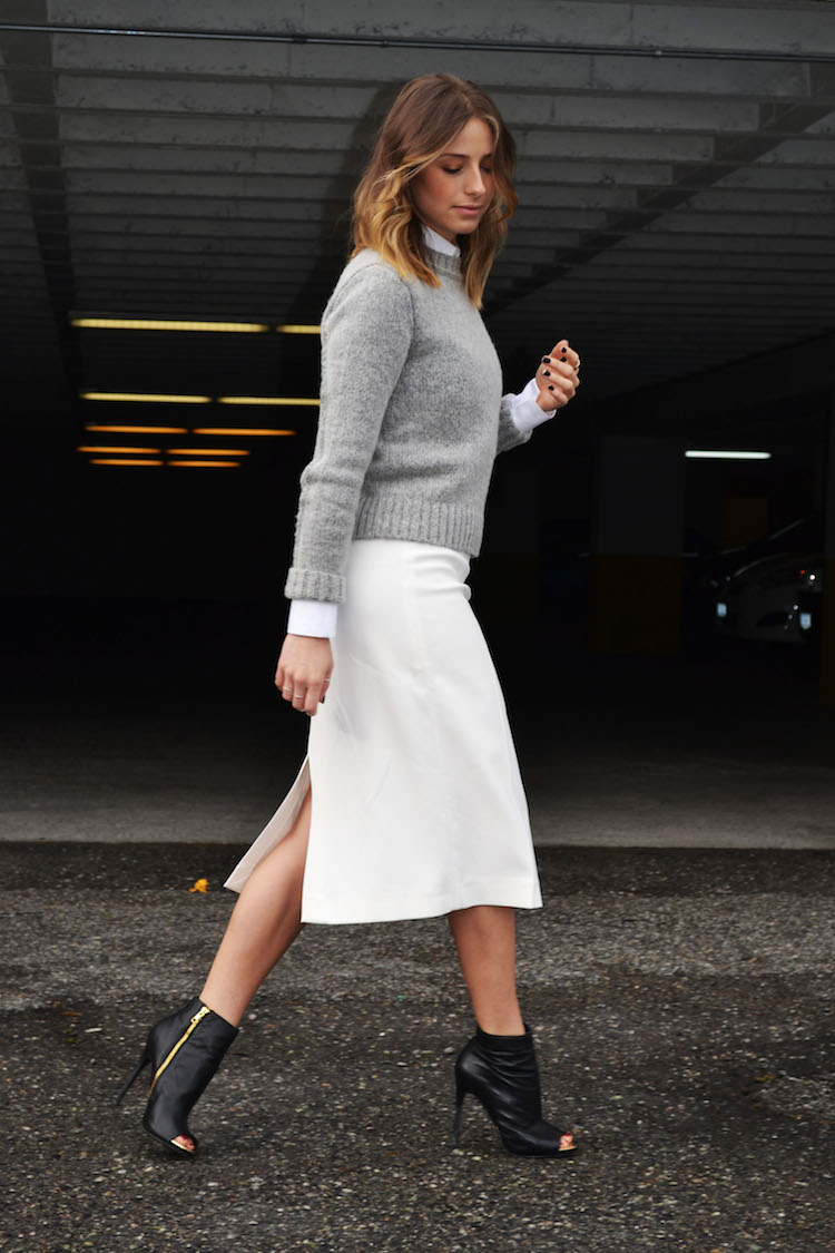 new-york-fashion-week-style-what-i-would-wear-white-midi-skirt-button-up-blouse-grey-cropped-sweater-peep-toe-booties-fall-2014-trends-the-august-diaries-vancouver-style-and-fashion-blog1