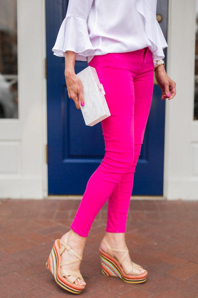 platform shoes, skinny jeans, lucite box clutch, charlotte max designs