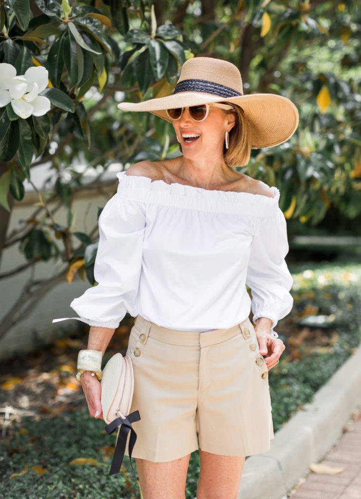 Fashion Blogger wearing white off the shoulder top from Banana Republic.