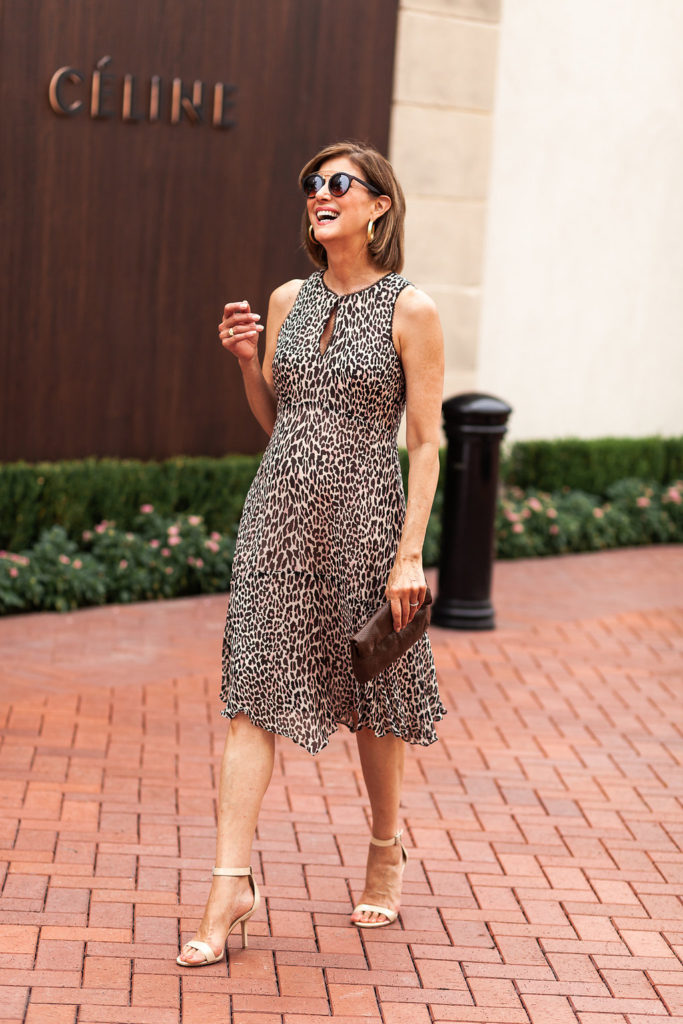 Nanette Lepore Leopard dress transitions to fall for over 50 blogger.