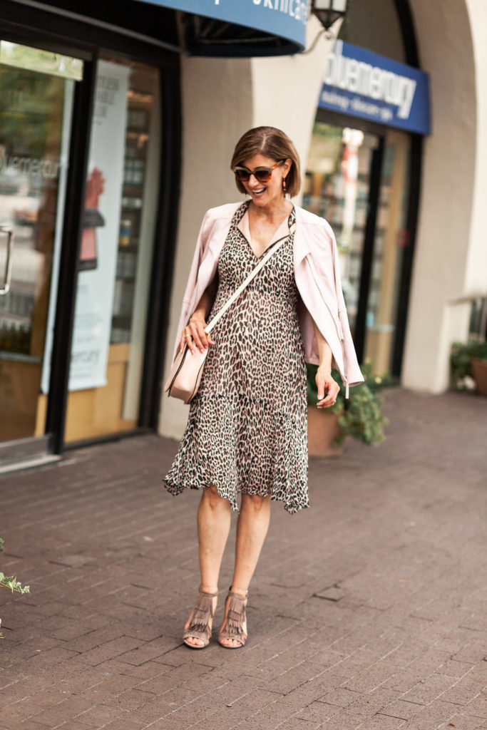 JD Williams blush pink jacket with leaopard dress for over 50 style.