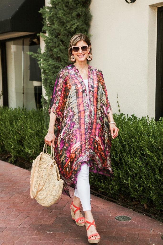 Elizabeth Gillett kimono in bright colors on over 50 blogger.