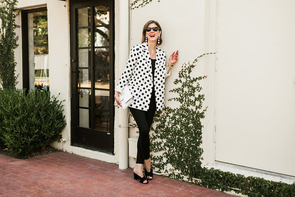 Dots for spring and dots for fall, black and white always a fashion trend for over 50 fashionistas in Dallas.