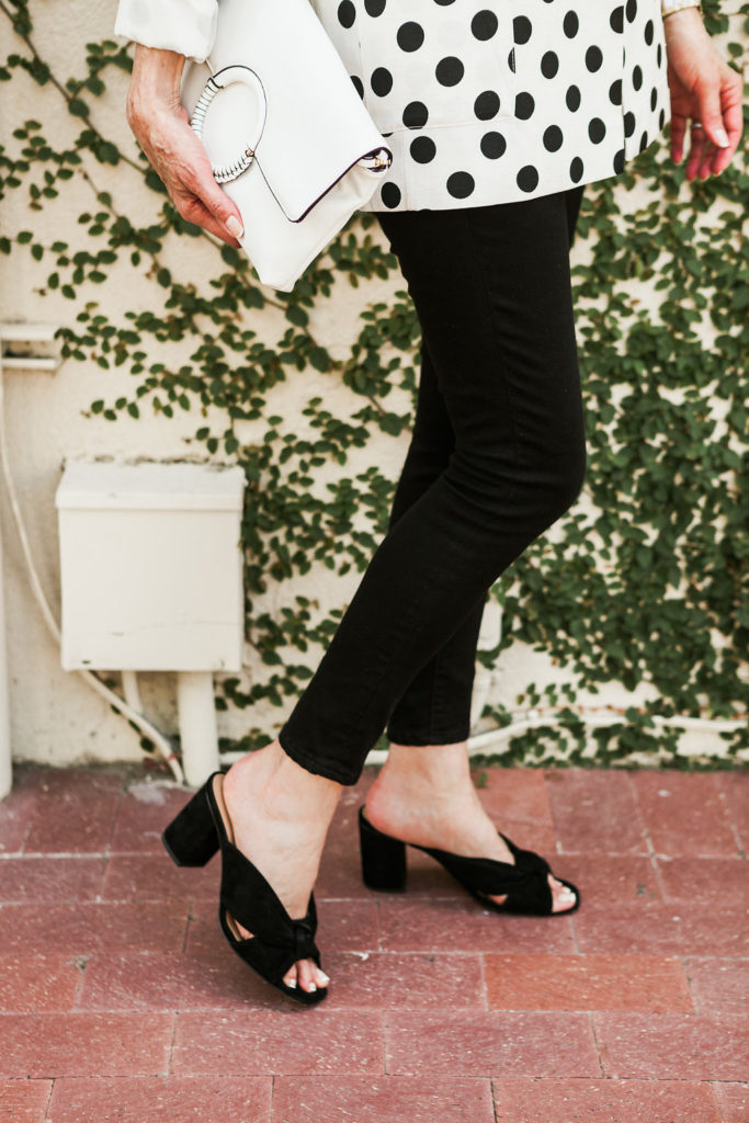 Slides and mules are all the rage for footwear these days for Dallas blogger and wardrobe consultant.