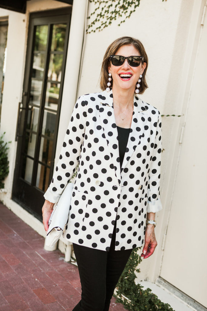 Polka Dots on trend in a jacket from Nordstrom worn by over 50 Blogger Debby Allbright of Fashionomics