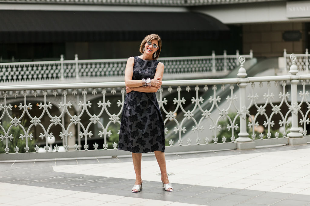 Navy is a great alternative to the LBD for over 50 blogger Debby Allbright