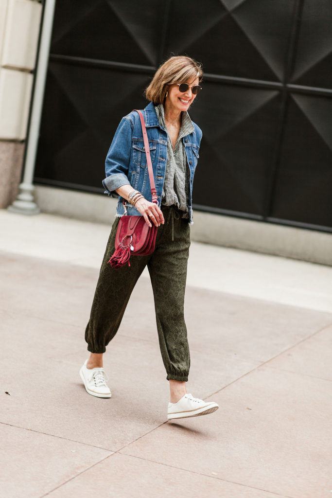 Over 50 Dallas Blogger wearing Koch joggers and Veronica Beard Denim jacket