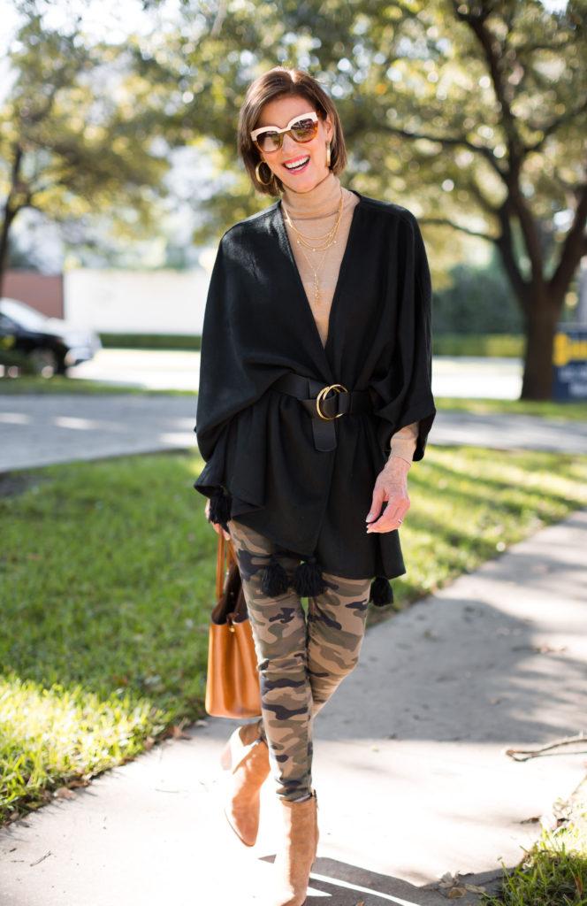 Cleobella capelet on over 50 Dallas Blogger
