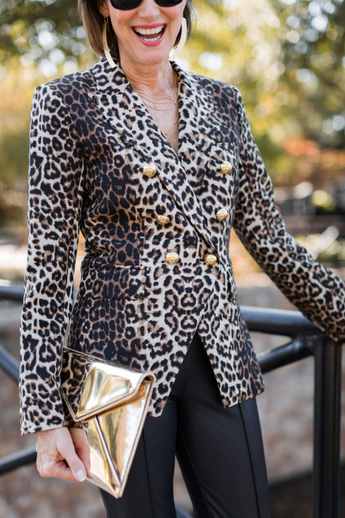 Leopard-Print everything with gold on over 50 Dallas blogger Fashionomics