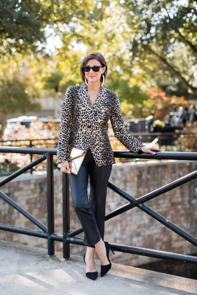 Veronica Beard leopard print blazer with BCBG flare faux leather pant