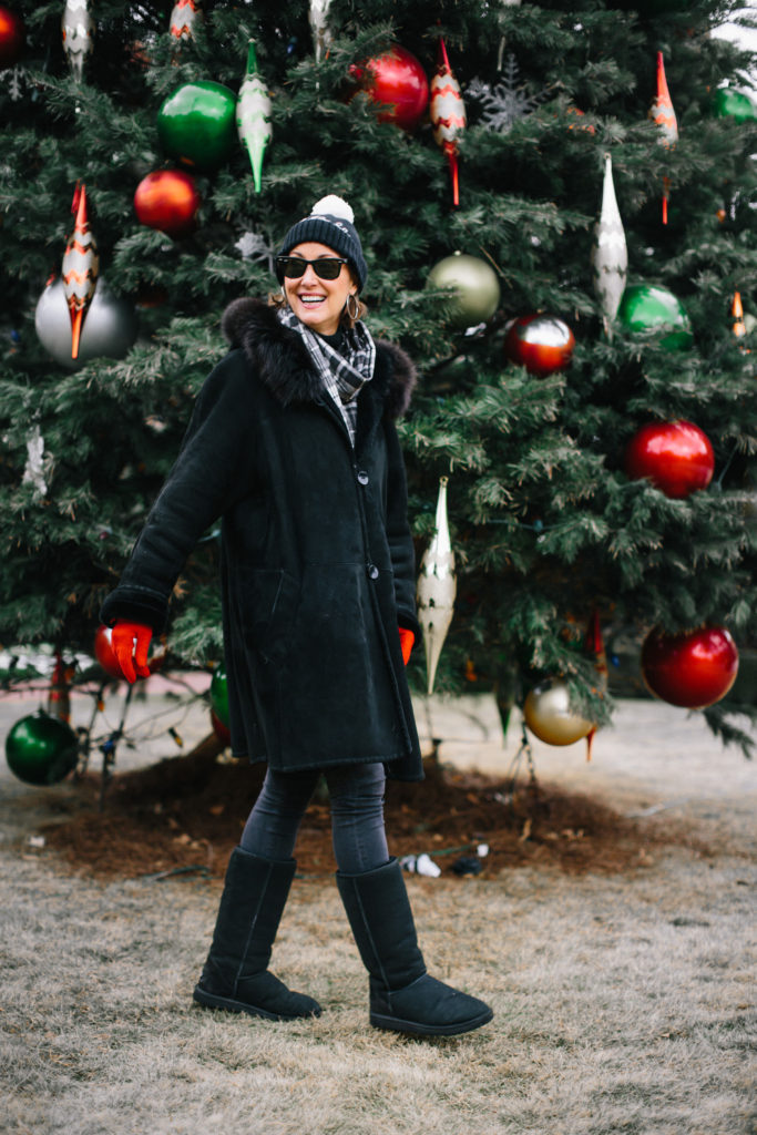Shearling coat on over 50 blogger
