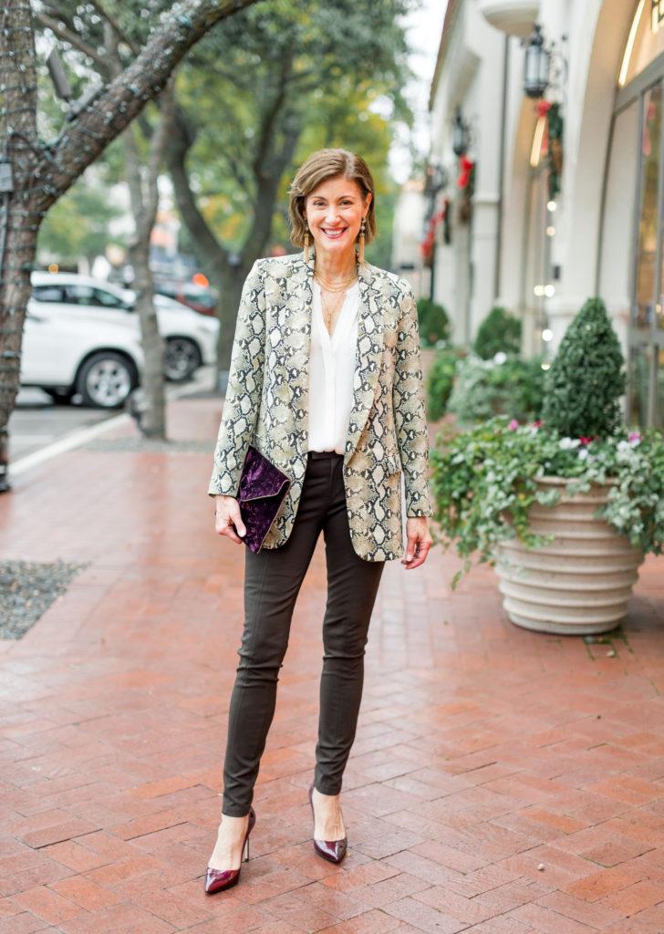 Rebecca Minkoff velvet clutch on Fashionomics founder Debby Allbright
